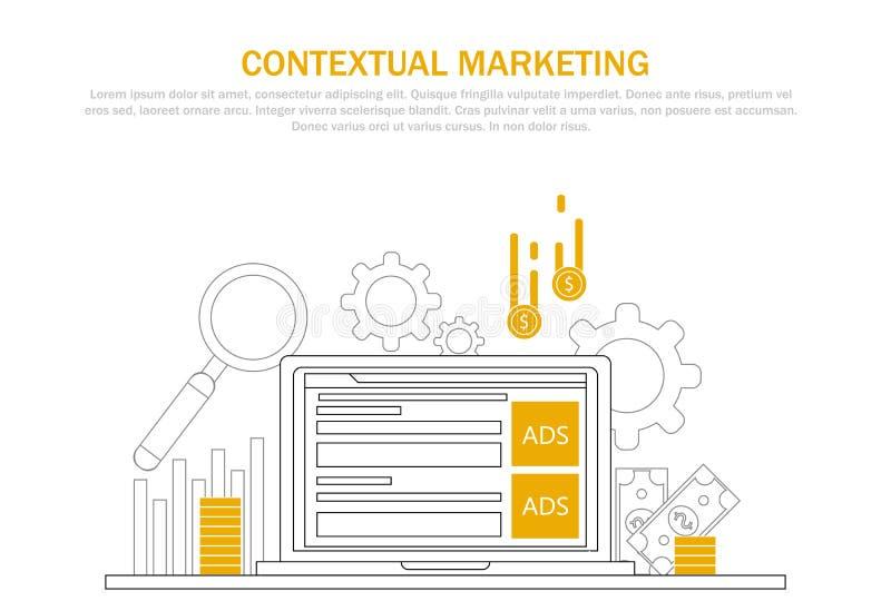 Contextuele marketing banner Computer met advertenties op vertoning en geld voor klik royalty-vrije illustratie