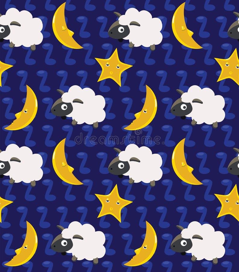 Conti i precedenti senza cuciture della luna e delle pecore illustrazione di stock