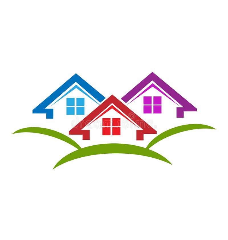 Contiene el logotipo del vector de las propiedades inmobiliarias stock de ilustración