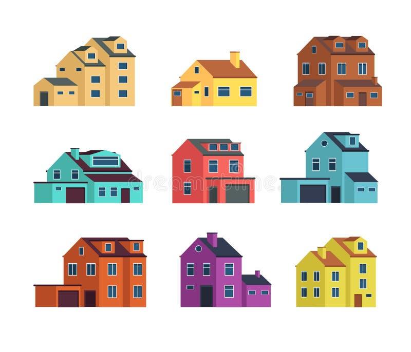 Contiene vista delantera Casa, edificios de la ciudad, y vivienda urbanos y suburbanos de la cabaña Ilustración aislada del vecto ilustración del vector