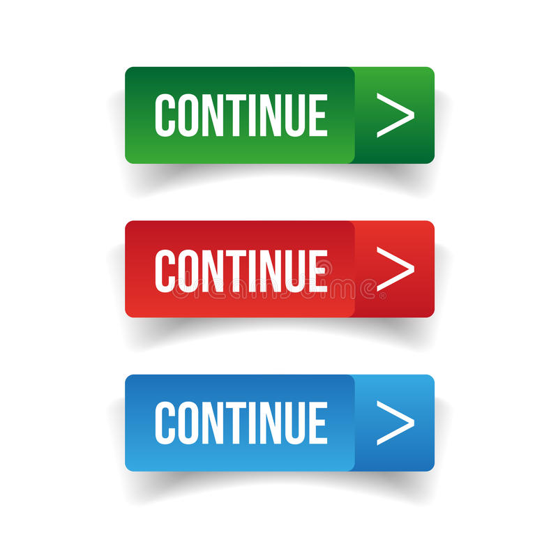 Continúe el sistema del botón ilustración del vector