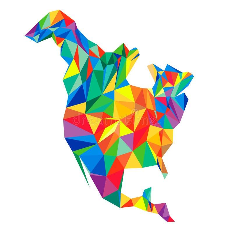 Continent abstrait de l'Amérique du Nord des triangles Styl d'origami illustration stock