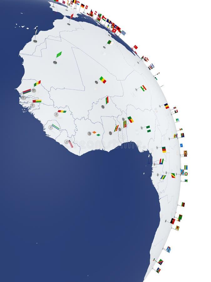 Continent de l'Afrique Carte de côté de l'Afrique avec des drapeaux de pays illustration de vecteur