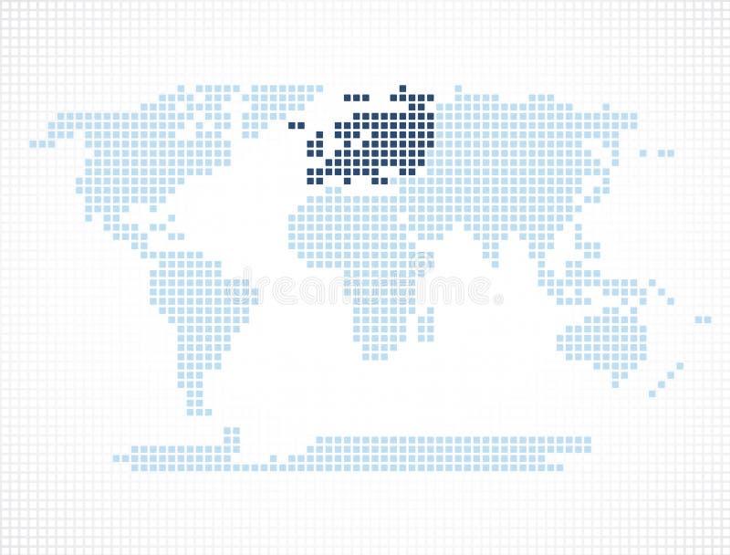 Continent de l'Europe sur la carte du monde illustration stock