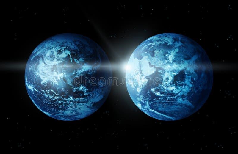 Continent de la terre deux de planète avec le soleil se levant de l'image espace-originale de la NASA illustration de vecteur