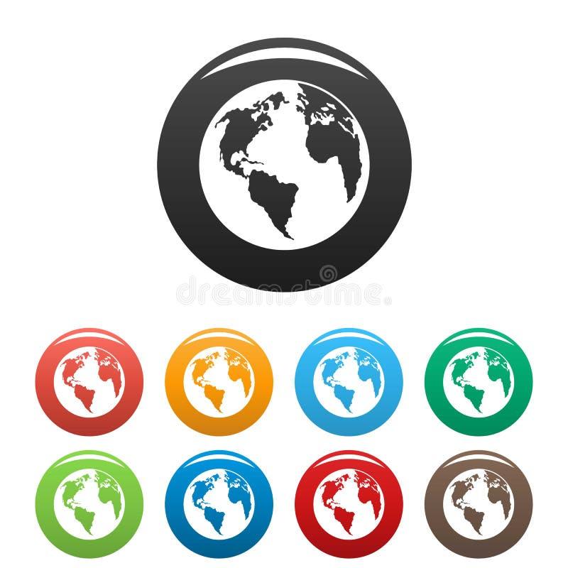 Continent sur le vecteur de couleur réglé par icônes de planète illustration stock
