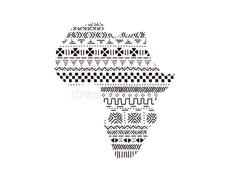 Continent texturisé de l'Afrique en ornement traditionnel noir et blanc de mudcloth, vecteur illustration de vecteur