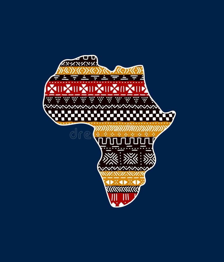 Continent texturisé de l'Afrique sur l'ornement traditionnel bleu de mudcloth, vecteur illustration libre de droits