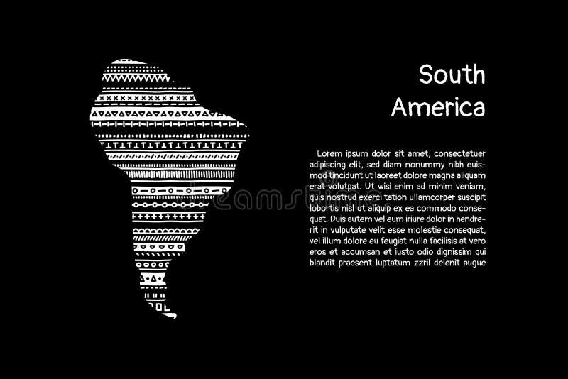 Continent texturisé de l'Amérique du Sud en ornement géométrique de griffonnage noir et blanc, vecteur illustration de vecteur