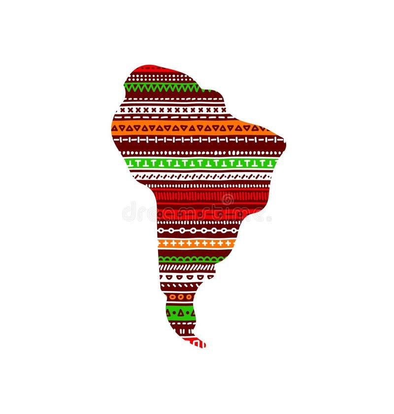 Continent texturisé rouge et vert coloré de l'Amérique du Sud en ornement géométrique de griffonnage, vecteur illustration de vecteur