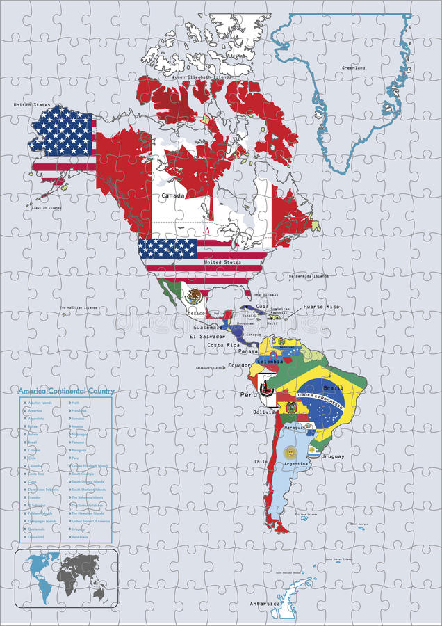Continentaal het landvlaggen van Amerika en kaartRaadsel royalty-vrije illustratie