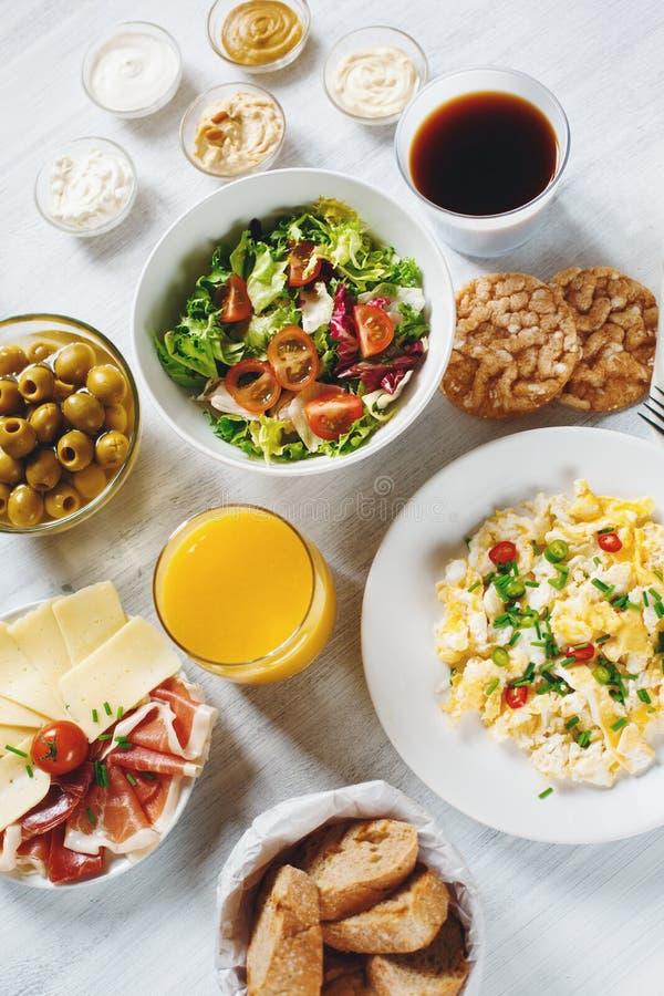 Continentaal Ontbijt Gezond Verschillend Voedsel royalty-vrije stock fotografie