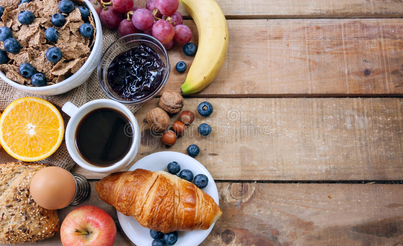 Continental breakfast. Food with background royalty free stock photos