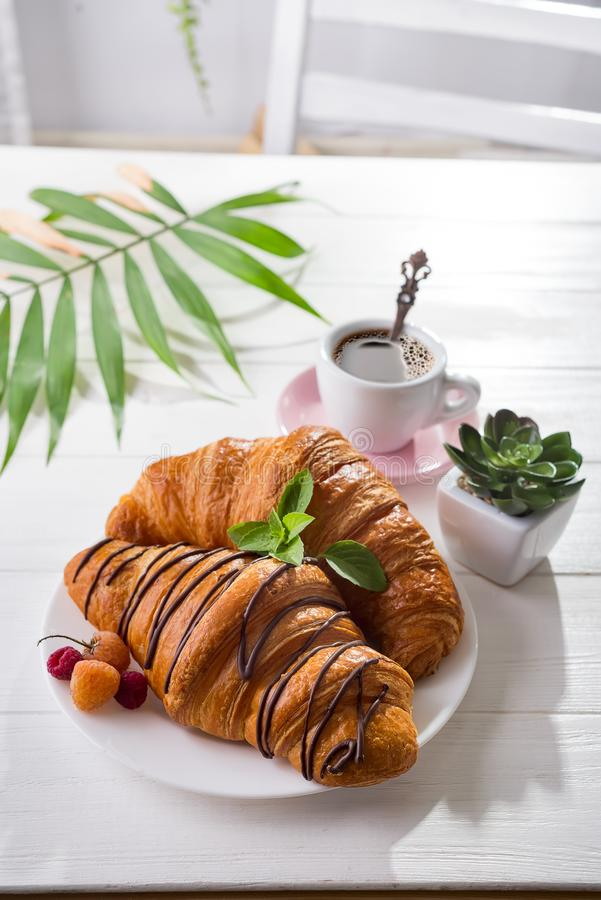 Continental breakfast freshly baked croissant decorated with jam and chocolate on wooden table in a kitchen with copy stock photography
