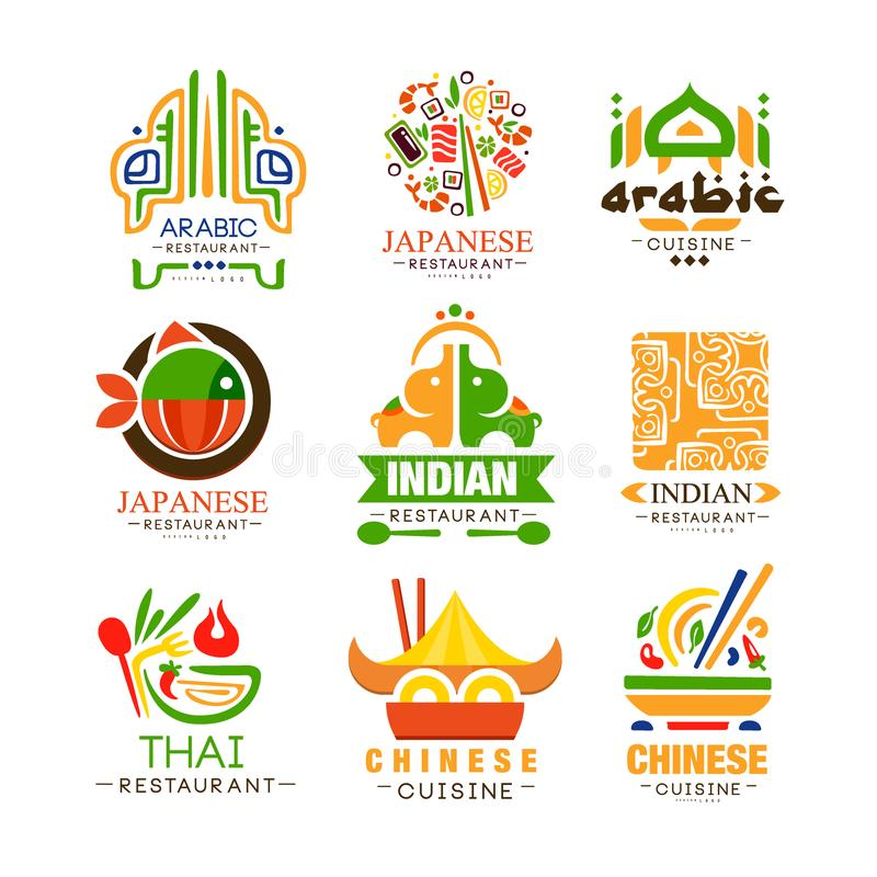 Continental cuisine logo design set, Arabic, Japanese, Thai, Chinese, Indian authentic traditional continental food vector illustration