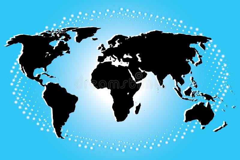 Continental dans le noir de la carte du monde sur Art Background bleu illustration libre de droits