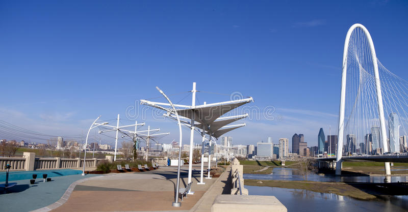 Continental Pedestrian and Margaret Hunt Hill Bridges over Trinity river stock photography