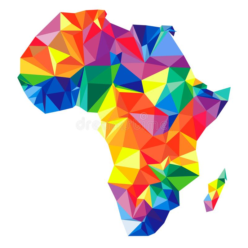 Continente abstrato de África dos triângulos Estilo do origâmi ilustração do vetor