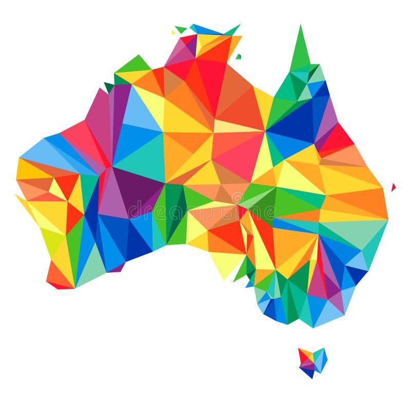 Continente abstrato de Austrália dos triângulos Estilo do origâmi ilustração royalty free
