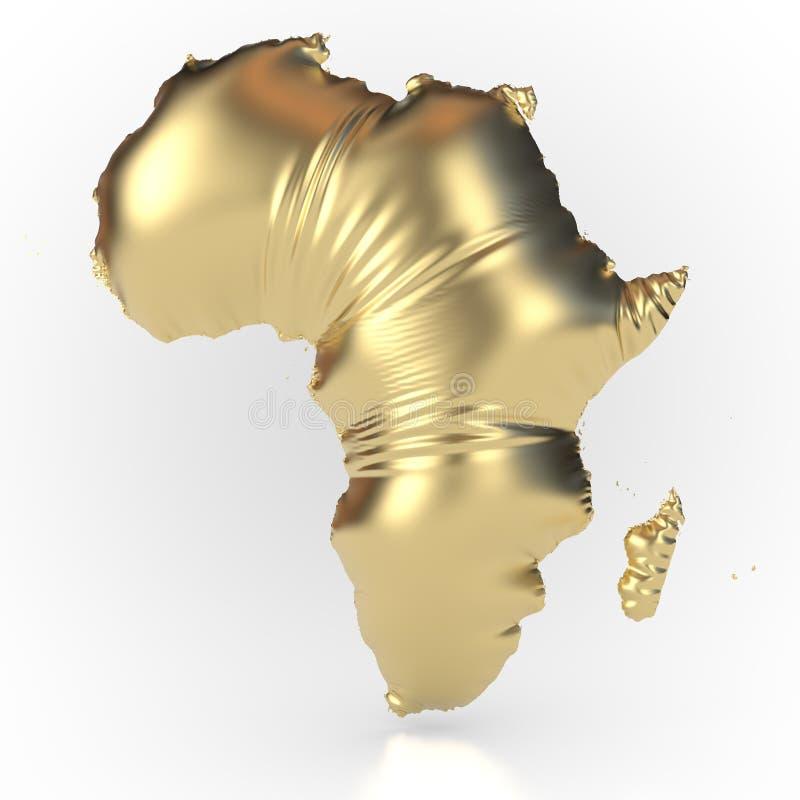 Continente africano oro-coloreado e inflado ilustración del vector