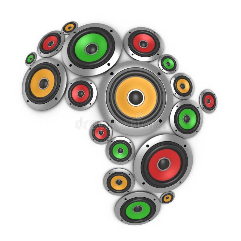 Continente da música de África ilustração stock