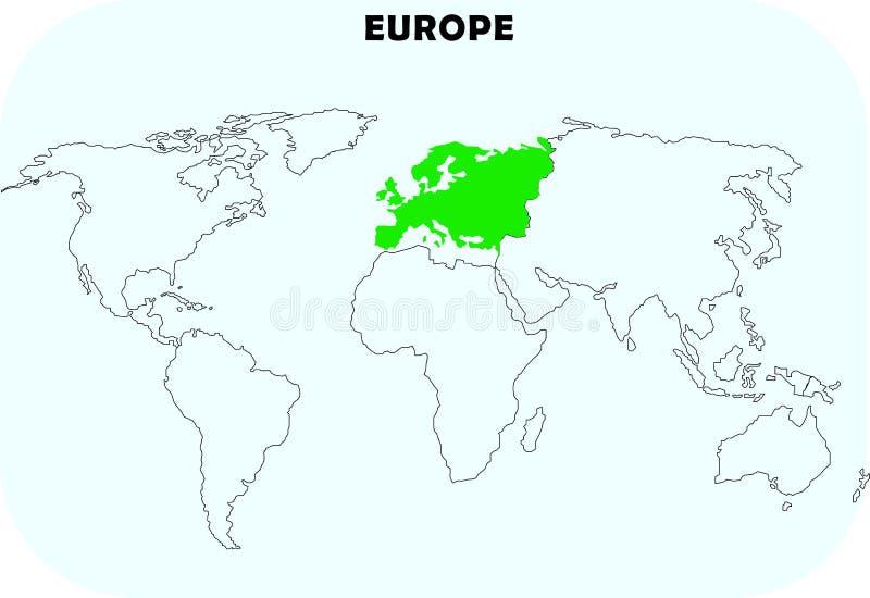 Continente de Europa en mapa del mundo stock de ilustración
