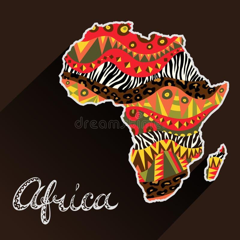 Continente decorato dell'Africa e titolo disegnato a mano illustrazione di stock