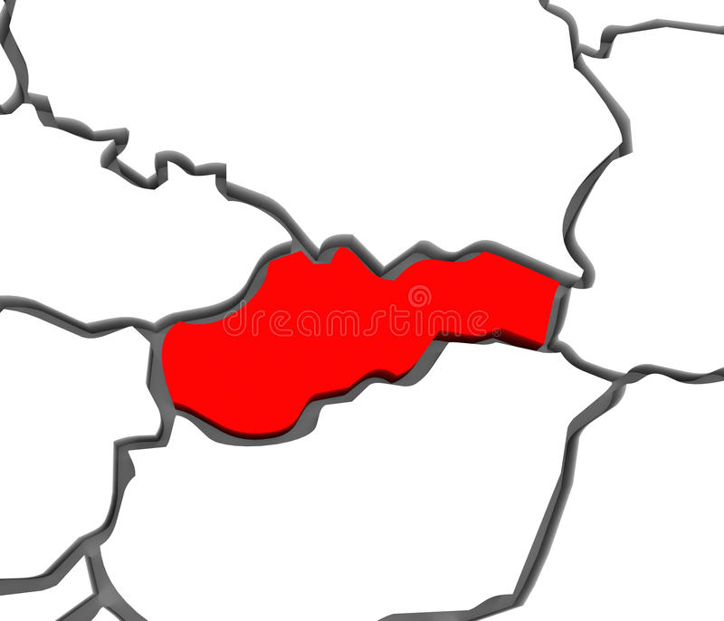 continente do mapa de Eslováquia Europa do mapa 3D ilustração stock