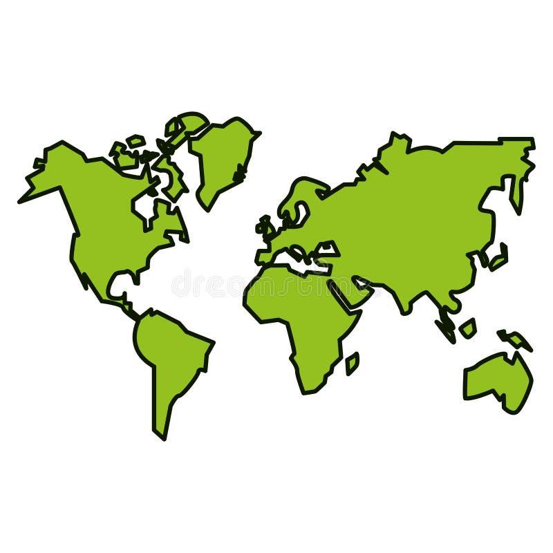 Continentes aislados del diseño del planeta stock de ilustración