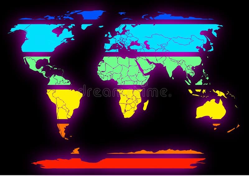 Continentes coloreados mapa del mundo cortados en negro libre illustration