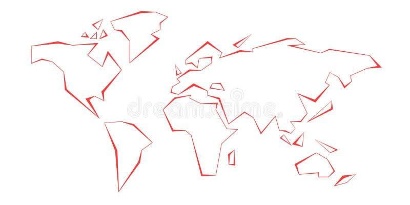 Continentes do contorno Mapa de mundo Linha vermelha molde Ilustração do vetor América, Europa, Oceano Atlântico, Austrália, Ásia ilustração stock
