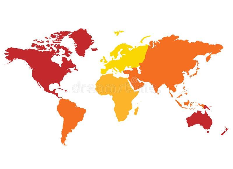 Continentes do mapa de mundo ilustração royalty free