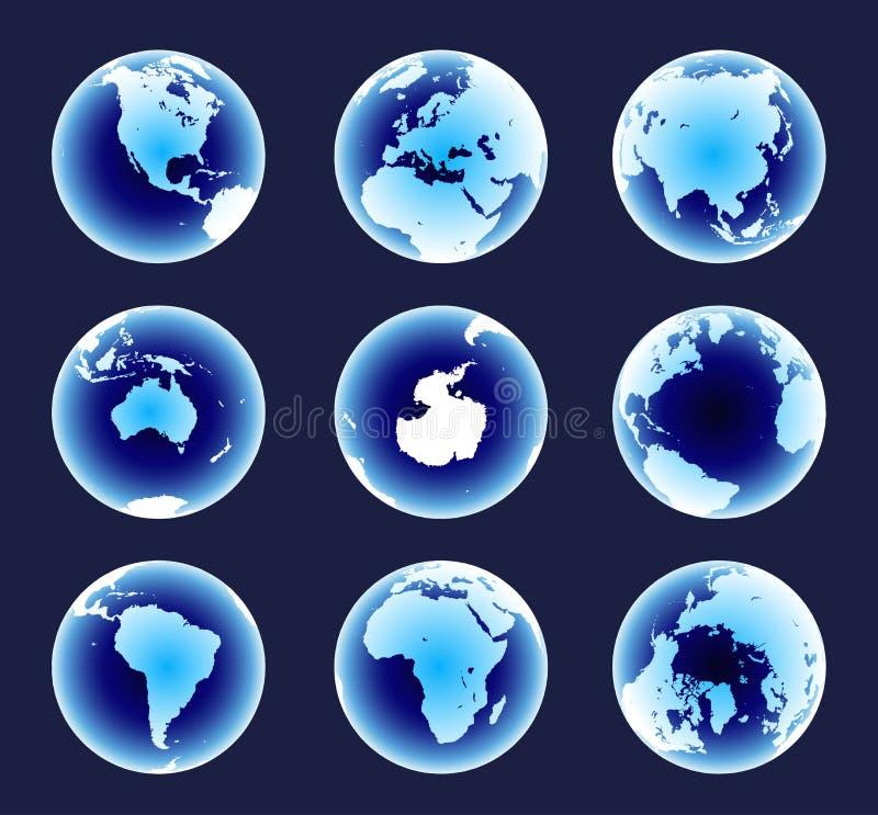 Continents bleus du monde
