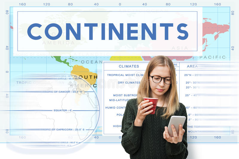 Continents Coordinates Exploration Geological Cartography Concept. Continents Coordinates Exploration Geological Cartography stock image