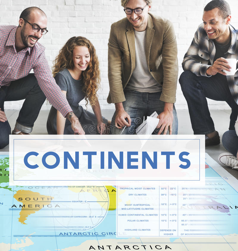 Continents Coordinates Exploration Geological Cartography Concep. T royalty free stock photos