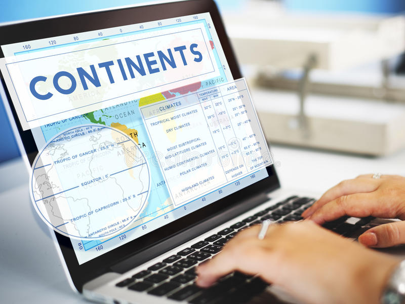 Continents Coordinates Exploration Geological Cartography Concept. Continents Coordinates Exploration Geological Concept stock photos
