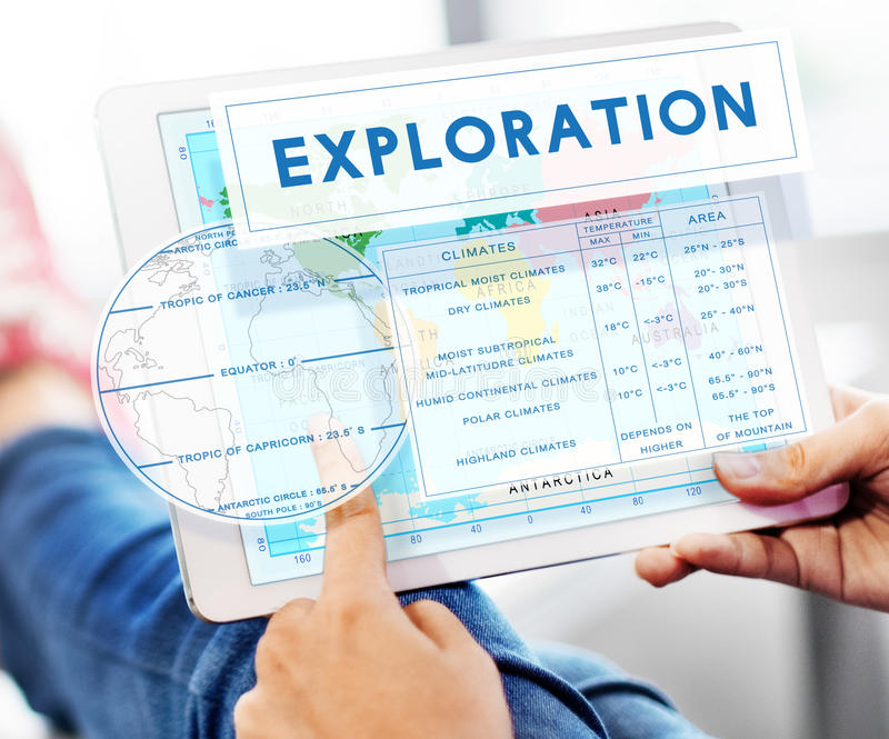 Continents Coordinates Exploration Geological Cartography Concept. Human Hands Using Digital Device Continents Coordinates Exploration Geological Cartography royalty free stock photography