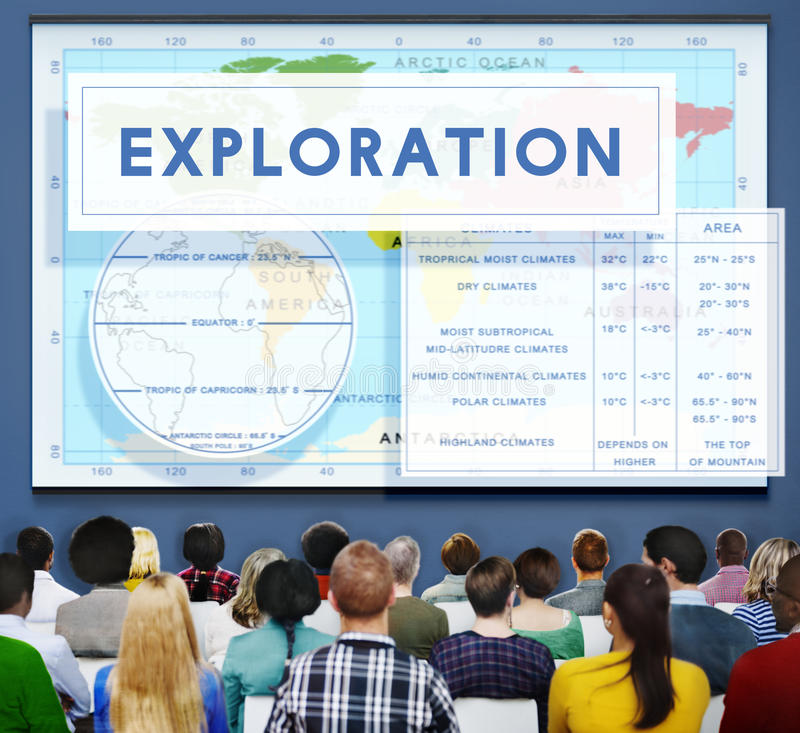 Continents Coordinates Exploration Geological Cartography Concept. People Checking Continents Coordinates Exploration Geological Cartography stock image