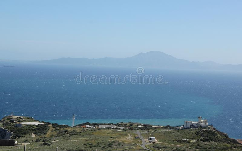 Continents. Seeing both the European and African continents from Gibraltar, UK royalty free stock photography