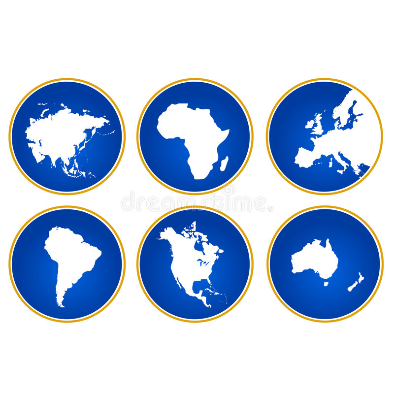 Continents of the world. Vectorial illustration of continents of the world in round image vector illustration