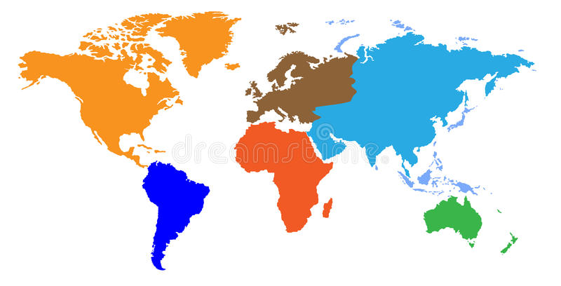 Continents World Map Royalty Free Stock Image