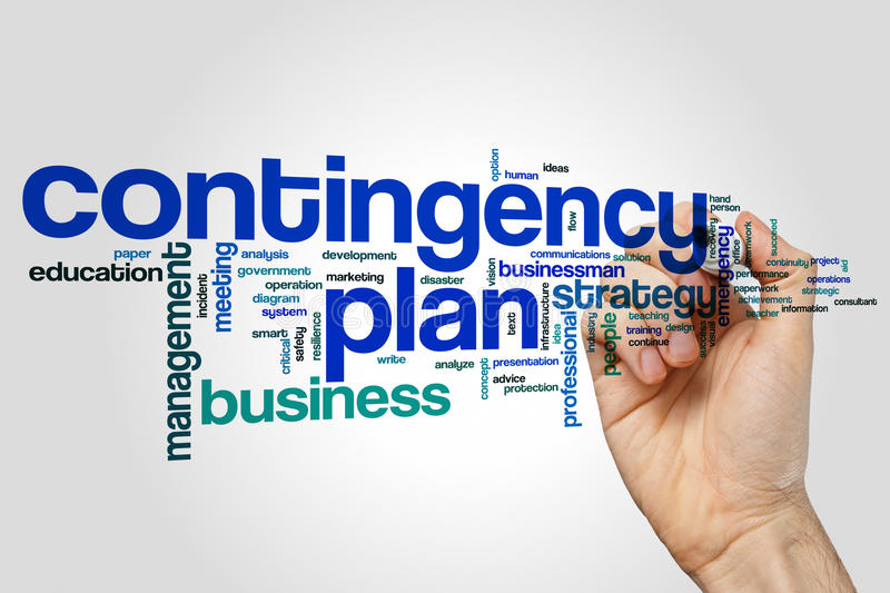 Contingency plan word cloud concept on grey background stock photos