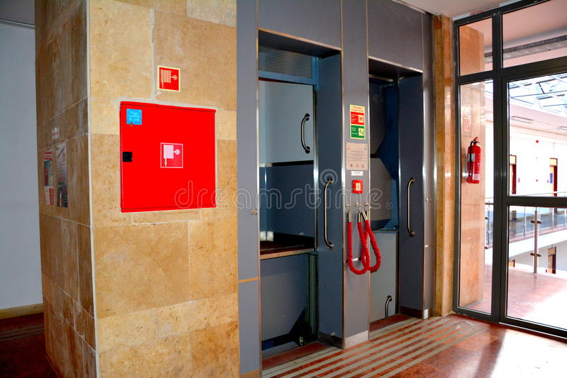 Continous elevator in the University of Miskolc, Topolcza, Hungary. The building of the University of Miskolc, build in the nord west of Hungary royalty free stock photo