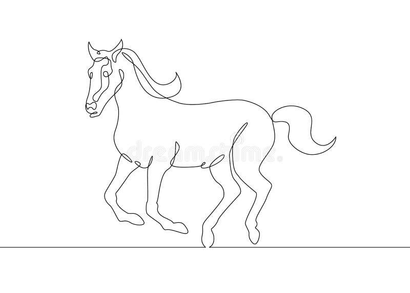 Continu cheval de dessin au trait illustration stock