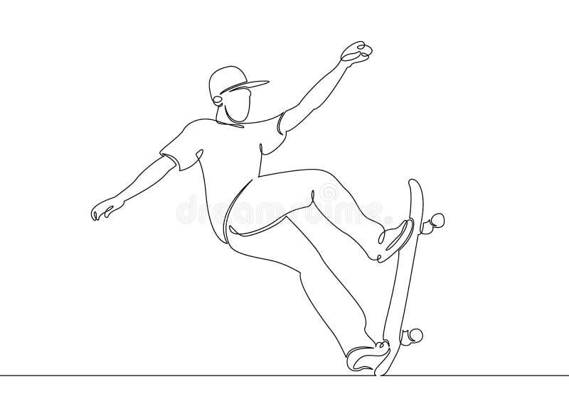 On continu choisissent la ligne tirée, le patineur de type, les raies de caractère sur une planche à roulettes illustration libre de droits