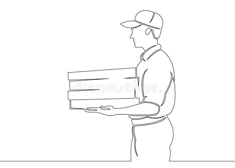Continu choisissez l'une ligne tirée messager de pizza de caractère illustration stock