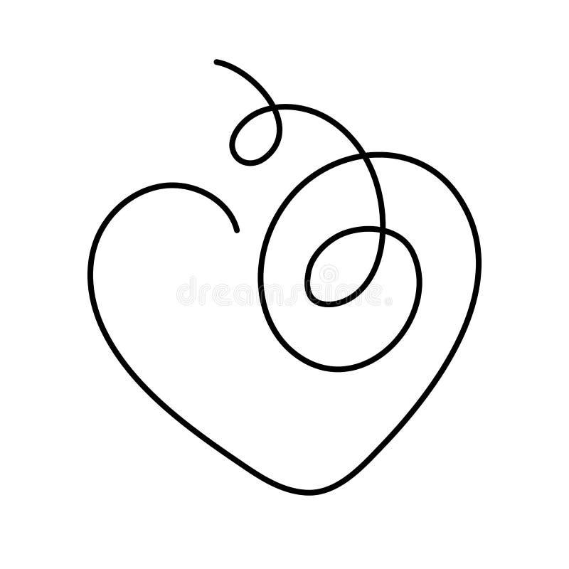 Continu coeur illustration de vecteur de dessin au trait avec la course editable illustration de vecteur