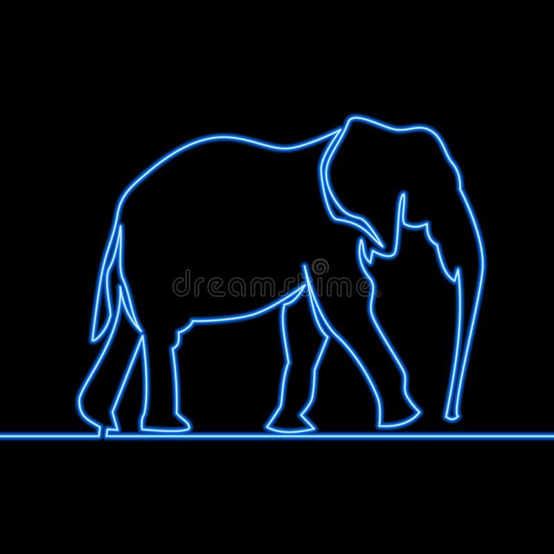 Continu concept au n?on d'elephan de dessin au trait illustration de vecteur