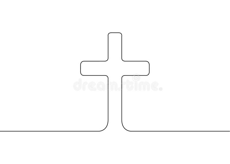 Continu dessiné une ligne du symbole de la religion illustration stock