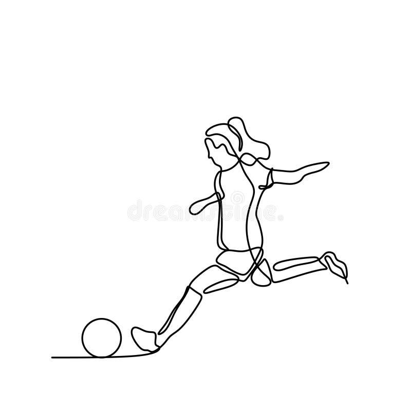 Continu dessin footballeur de femmes de sch?ma photos libres de droits